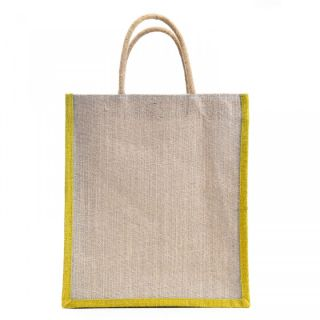 Verdant Globe Carry Bag  Shopping Bag  Tote Bag  Handbag Jute Bag  Yellow-Natural Bag 12x10x4 inch  available at shopclues for Rs.129