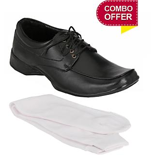 Groofer KK-112 Mens Black Formal Lace Up Shoe with 1- Pair Socks