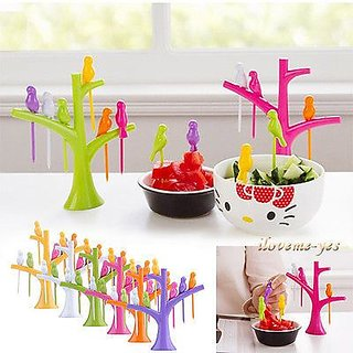 6Pcs Green Western Plastic Created Branch Holder Birds Cake Designed Forks Cutle