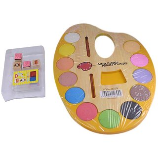 Saamarth Impex Painting Plate With 12 Various Color And 2 Brush  Pcs Mini Stamp+ 2 Color ink Pad  SI-238