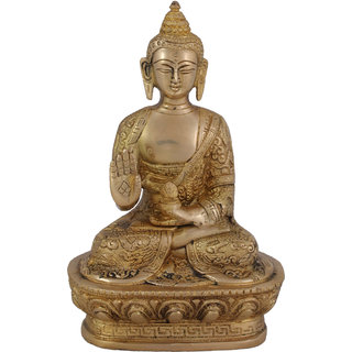 Arihant Craft Ethnic Decor Lord Buddha Idol Statue Sculpture Showpiece  17.5 cm (Brass, Gold)