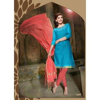 Trendz Apparels Blue Pure Banarasi Printed Unstitched Straight Fit Salwar Suit