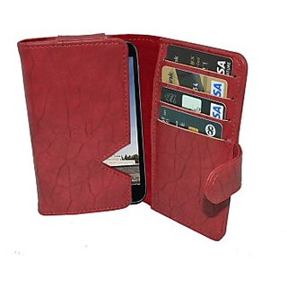 Totta Wallet Case Cover For Karbonn Titanium S5I (Red)