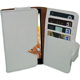 Totta Wallet Case Cover For Intex Aqua I5 Octa (White)