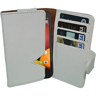 Totta Wallet Case Cover For Motorola Moto E (2Nd Gen) (White)