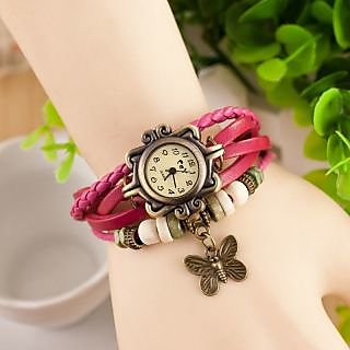 Vintage Round Dial Pink Leather Strap Analog Watch For Women