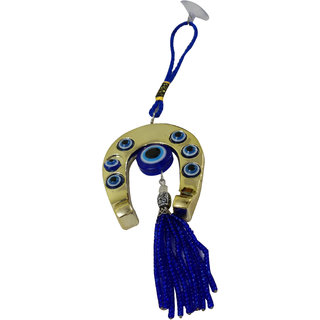 Choti Traders Feng Shui Evil Eye with Golden Horse Shoe Hanging