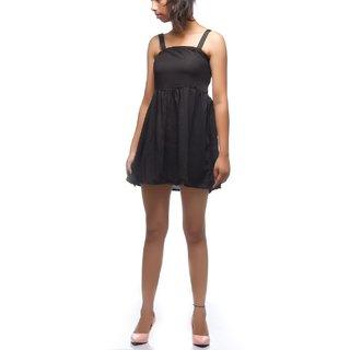 Rimsha Black fit and flare mini dress