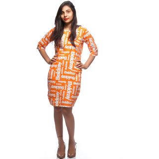 Rimsha orange and white printed formal midi dress