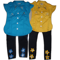 Om Shree Multicolour GIRLS TOP  BOTTOM PANT  SET OF 2