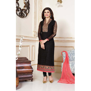 Thankar Black  Peach Embroidered Georgette Straight Suit