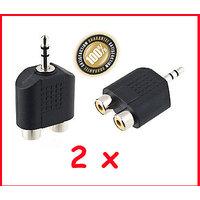 2 Splitters 1/8 stereo 3.5mm plug male to dual female RCA jacks audio Y adapte