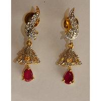 Real RUBY CZ Gold silver plating Diamond Finish Earring Imitation Jewellery