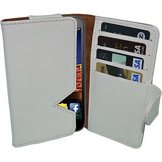 Totta Wallet Case Cover for Data Wind Pocket Surfer 3G4 (White)