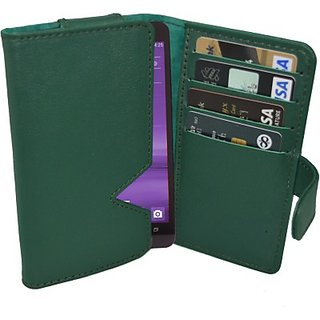 Totta Wallet Case Cover for Hitech Amaze S400 (Green)