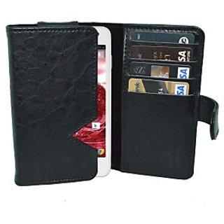 Totta Wallet Case Cover for Lava Iris 405 (Black)