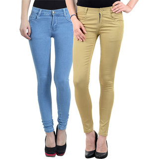 D-ROCK Multi Color Cotton Blend Combo of Jeans with Chinos For Women (Pack of 2)