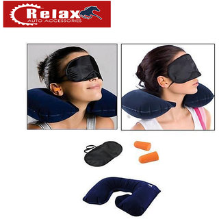 Relax 3 in 1 Travel Combo - Inflatable Neck Cushion + Eye Mask + Ear Plugs