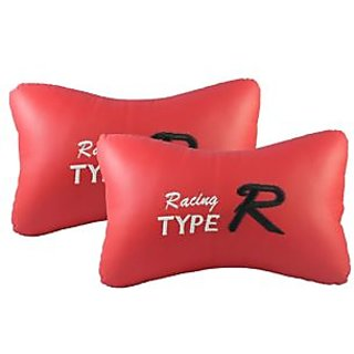 TAKECARE   Red Leatherhette Car Seat Neck Cushion Pillow  FOR CHEVROLET SPARK