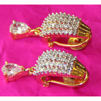 Real CZ Gold silver plating Diamond Finish Earring Imitation Jewellery