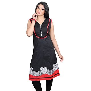 Dealtz Fashion Black Cotton Long Kurti