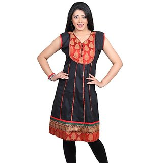 Dealtz Fashion Stylish Black Cotton Long Kurti