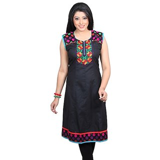 Dealtz Fashion Pretty Black Cotton Long Kurti
