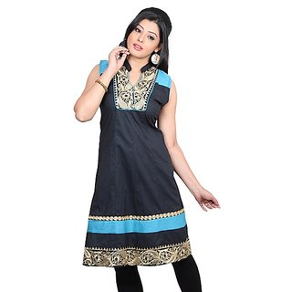Dealtz Fashion Beautiful Black Cotton Long Kurti