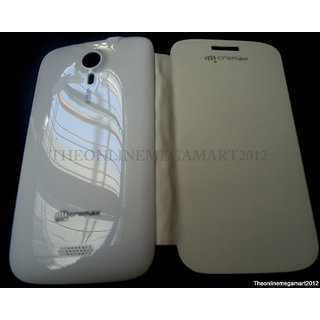MICROMAX CANVAS HD A116 CANVAS 3 BATTERY REPLACEABLE FLIP COVER CASE WHITE COLOR available at ShopClues for Rs.224