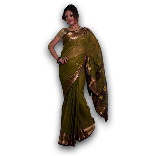 Bengal Handloom saree SC-16(Deep green)
