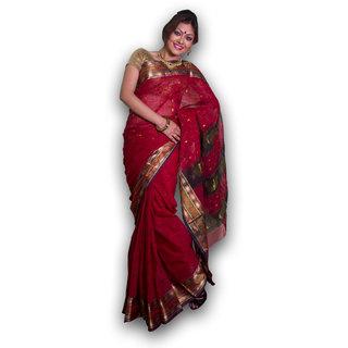 Bengal Handloom saree SC-17(Deep Red)