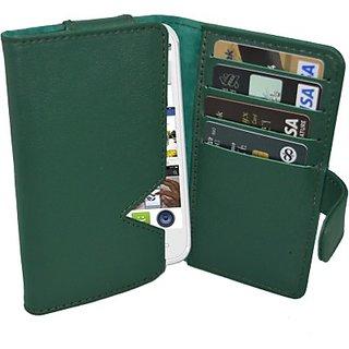 Totta Wallet Case Cover for Celkon Millennium Vogue Q455 (Green)