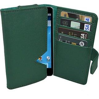 Totta Wallet Case Cover for Intex Aqua Wonder Quadcore (Green)