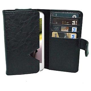 Totta Wallet Case Cover for Intex Aqua Curve Mini (Black)