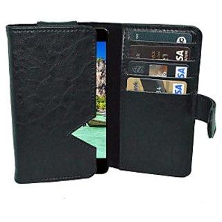 Totta Wallet Case Cover for Intex Aqua Star L (Black)