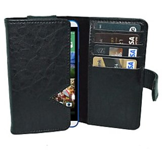 Totta Wallet Case Cover for HTC Desire 326G dual Sim (Black)