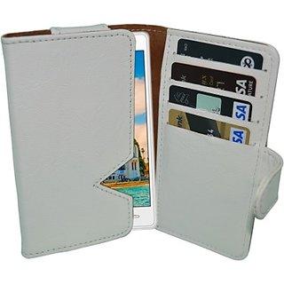 Totta Wallet Case Cover for Intex Aqua Q4 (White)