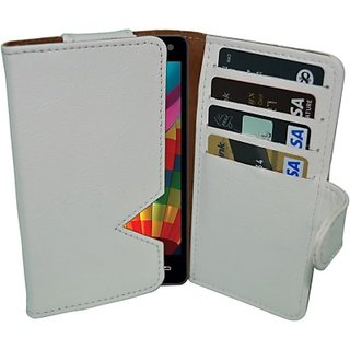 Totta Wallet Case Cover for iBall Andi5 E7 (White)