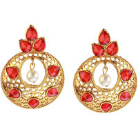14fashion Red Gold finish Traditional earing -1307402C