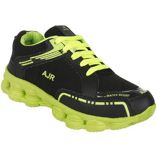 Bersache Mens Black and Green Sport Shoes