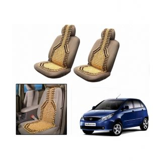 TAKECARE Beige Wooden Car Seat Beads Set Of 2 FOR TATA VISTA