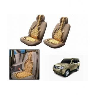 TAKECARE Beige Wooden Car Seat Beads Set Of 2 FOR TATA SUMO
