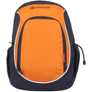 Harissons Contender Orange and Navy Blue Polyester Laptop Backpack