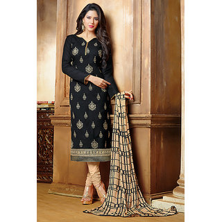 RapidDukan Un-Stitched Black Color Straight Salwar Suit Dupatta Material SF607