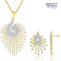 Sukkhi's Indian Peacock CZ Gold and Rodium Plated Pendant with Earrings
