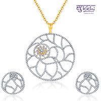 Sukkhi Trendy Gold and Rodium Plated CZ Pendant Set