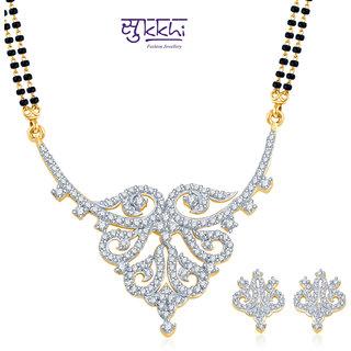 Sukkhi Dazzling and Glamorous Gold and Rhodium Plated CZ Mangalsutra Set