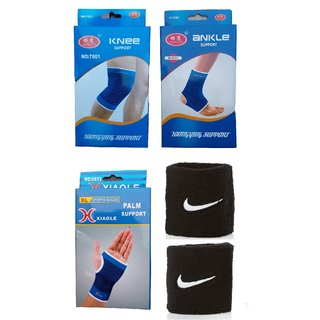 Fitness Combo (Knee Support + Ankle Support + Palm Support + 2 Black Small Wrist Band)