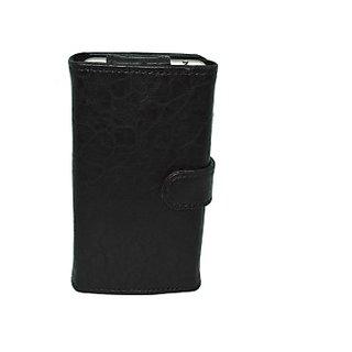Totta Wallet Case Cover for Celkon Q54 (Black)
