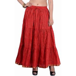Jaipur kala kendra Womens Cotton Golded Print Lace Work Medium Red Color Long Skirt
